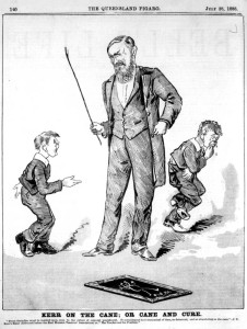 StateLibQld_1_113036_Cartoon_of_students_receiving_the_cane,_1888